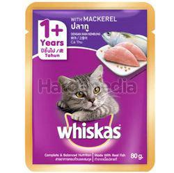 Whiskas 1+ Pouch Cat Food Mackerel 80gm
