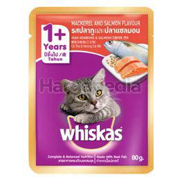 Whiskas 1+ Pouch Cat Food Mackerel & Salmon 80gm