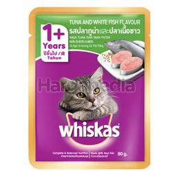 Whiskas 1+ Pouch Cat Food Tuna & White Fish 80gm