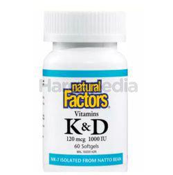 Natural Factors Vitamins K & D 60s