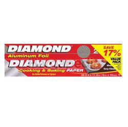 Diamond Aluminium Foil 25sf 1s + Cooking & Baking Paper 8M 1s