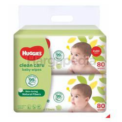 Huggies Baby Wipes Clean Care 2x80s
